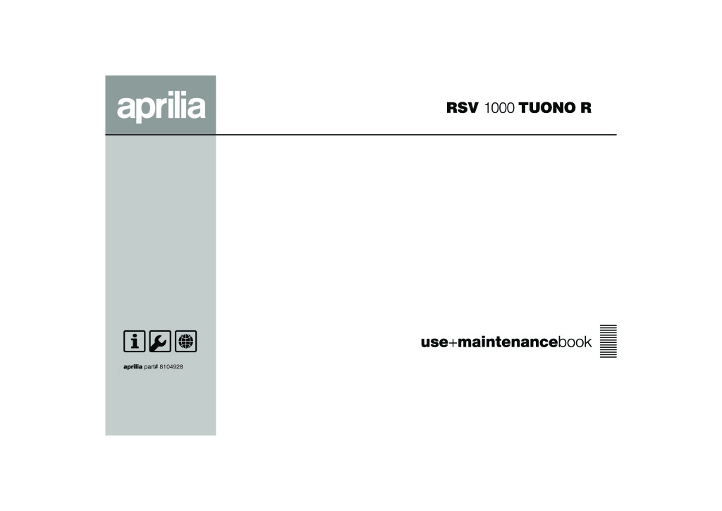 Aprilia Rsv Tuono 1000 R 2005 Owners Manual Wiring Diagram